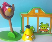 SALE! Angry Birds cake toppers with characters & catapult, 4 pc set, great for your next birthday or gaming party, cupcake cake decoration