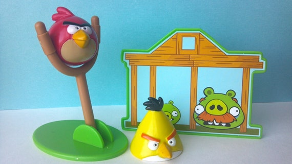 Items similar to angry birds cake toppers with characters for Angry birds cake decoration kit