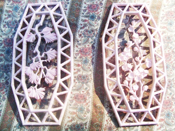 Shabby chic pink  wall decor vintage 1977 Dart Industries Wall Decor Upcyled Recycled painted light pink