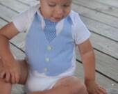 Little Man Onesie with necktie and vest, light blue - support domestic adoption