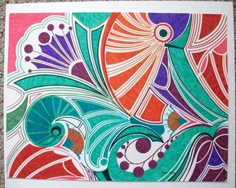"MardiGras art painting. Original Watercolor and Ink Painting by Joyce Dorsa 16"" x 12"" Abstract Art  mardigras"