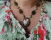 Windflowers Green Jasper Necklace and Earrings Set