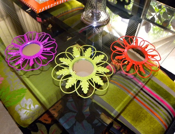 Three colorful flower shape mirrors