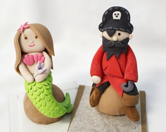Edible 1 qty Pirate and 1 qty Mermaid cake figurines - great for an under the sea party - beach party - ocean theme
