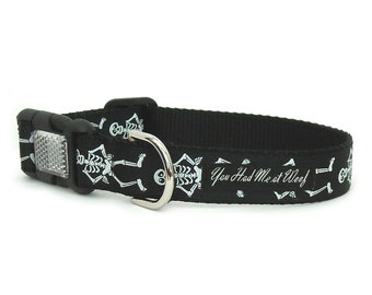 Skeleton Halloween Dog Collar with Reflective Buckle, Supports Animal Rescue, by You Had Me at Woof, Gift Box Included- Mr. Bones