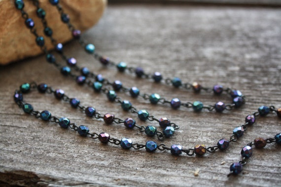 Faceted Peacock Blue Czech Glass Bead Chain with Jet Black Links