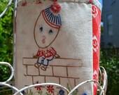 Vintage Embroidered Humpty Dumpty Fabric Bin