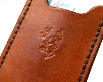 Flip Clip. Mens leather wallet with money clip stamped with buck or trout