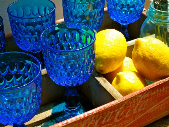 Cobalt  blue stemware  glassware kitchen   vintage Glasses  Wedding Gift  Shabby Chic Set of 6  1940s