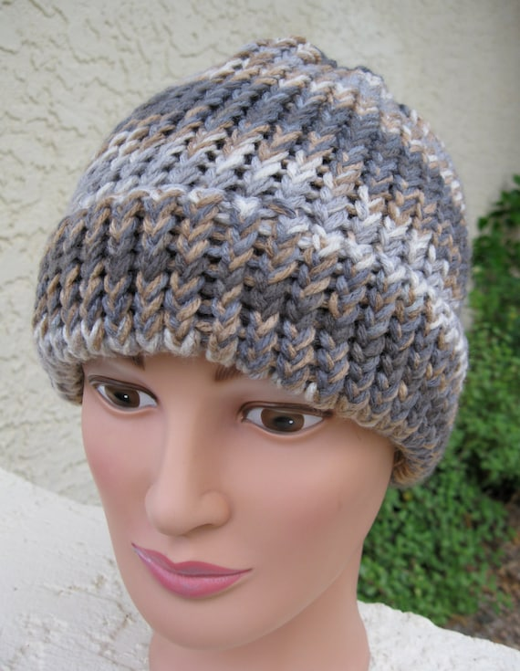 Loom Knit Baby Hat With Brim : Loom knitted hat with a brim greys and browns by sewrichau
