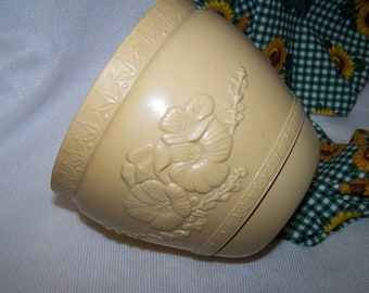 Vintage Planter Plastic Yellow Planter Gold Planter Flower Pot