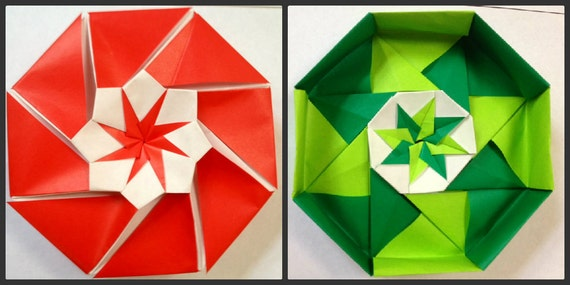 Christmas Origami Octagon Box: Red, Green, Light Green, and White