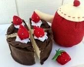 Polka Dot Cloth Tea Set and Felt Cake for Tea Party