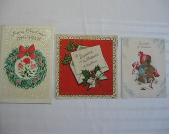 Three Vintage Glitter Christmas Cards from the 40's & 50's