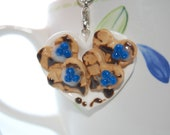 SALE: Heart-shaped Waffle Blueberry Cookies on a Heart-shaped Plate, Polymer Clay Charm