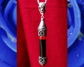 Medieval Death Skull - Vial of Blood Pendant - glass & silver plated metal - Memento Mori Vampire Necklace