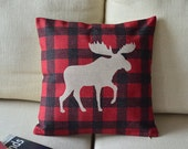 1  linen  simple Red black plaid  printed simple deer  decorative  pillow case / cushion cover 45cm x45cm - linxge