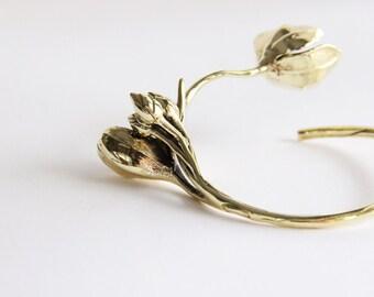 Golden Flower Bangle - Brass metal Cuff