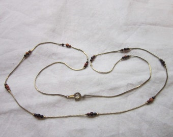 Necklace Gold Tone Necklace with Petite Glass Beads Lovely