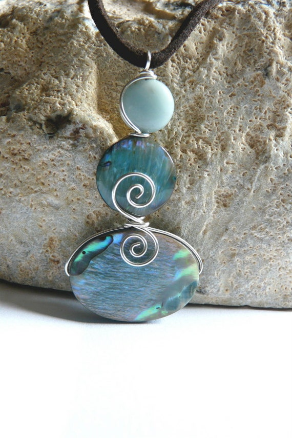 Summer Abalone Shell Pendant Wire Wrapped Sterling Silver Handmade Pendant