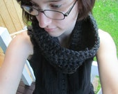 thick dark gray neck cowl crocheted