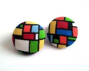 Mosaic geometric colorful squares fabric button earrings