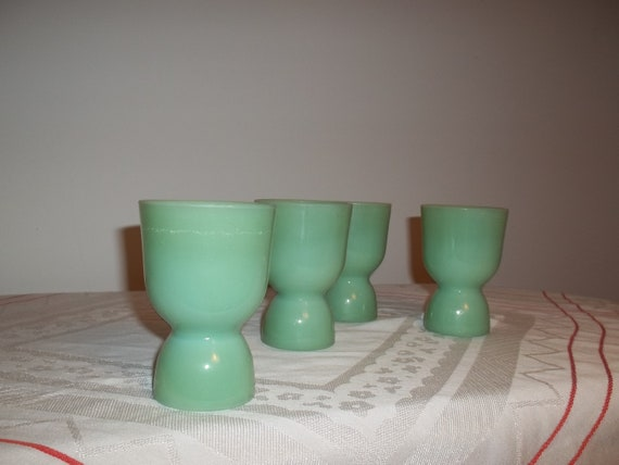 Jadeite Double Egg Cups (set of 4)