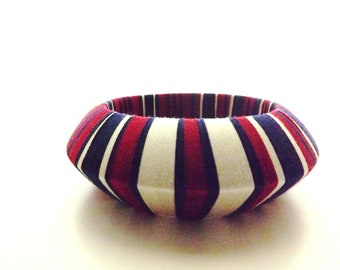 Navy Stripe Thread Wrap Bangle