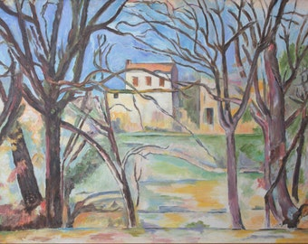 Replica of Cezanne's House behind Trees on the Road to Tholonet - 100% hand painted oil on canvas