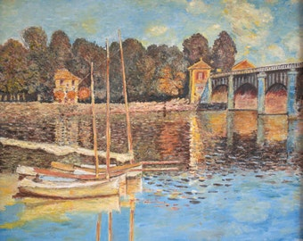 Replica of Monet's The Bridge at Argenteuil - 100% hand painted oil on canvas
