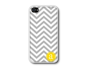 Personalized iphone 4 case - iphone 5 case - Monogram grey and yellow phone cover