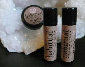 Organic Lip Balm Tube - VANILLA - Handmade & 100% Natural / Beeswax Chapstick