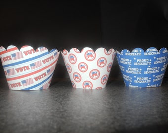 Democratic Cupcake Wrappers- Set of 12  Presendial Election Repulican