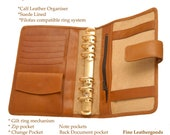 Filofax compatible Organiser  BYRON made in  calf leather
