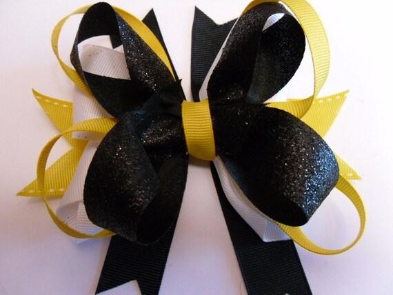RESERVED: KATIE Girls Hair Bow-MIZZOU hair bow
