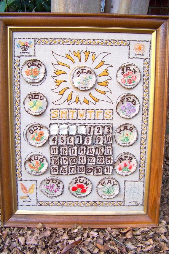 Stunning Embroidered Perpetual Calendar. New Year's. Wood Frame. Needlework. Handmade Vintage.