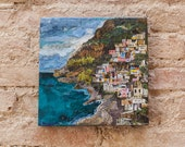 20x20cm abstract interpretation of Positano, Italy.