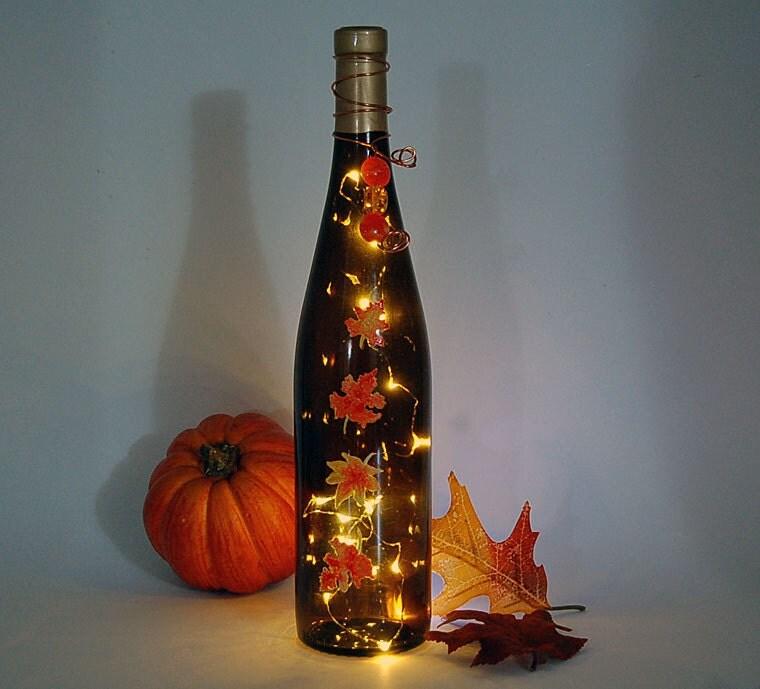 Wine Bottle Light Thanksgiving Decoration Autumn Leaves