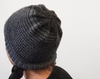 hand knit striped vegan winter hat -- charcoal and dark heather grey