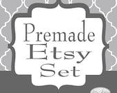 Premade Etsy Shop Mini Set Gray Stripe Quatrefoil - Etsy Shop Banners & Matching Avatars