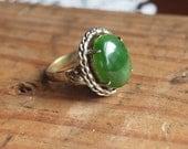 Silver plate, Jade vintage ring