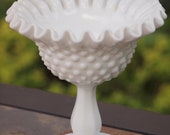 Fenton hobnail milkglass, candy dish, wedding center piece
