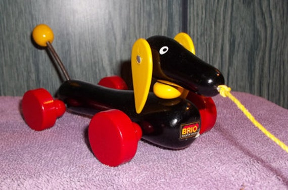 Vintage Wood Brio Dachshund Pull-toy Old Style