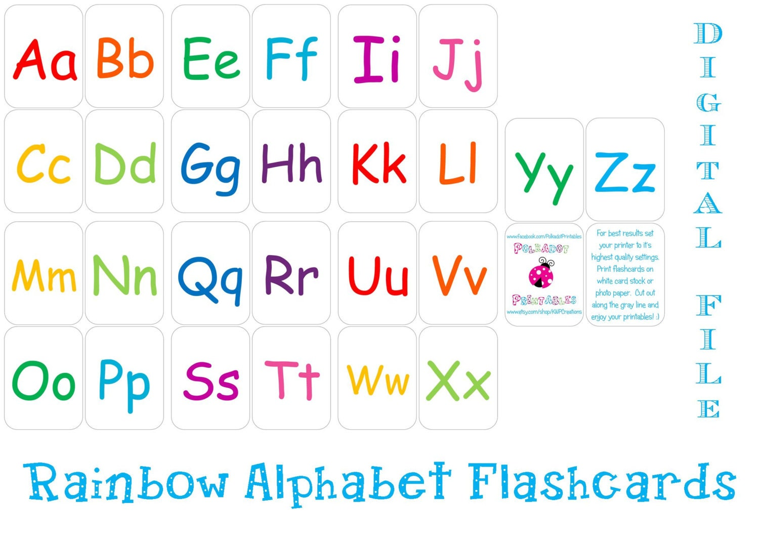 Dynamic image with free printable alphabet flash cards