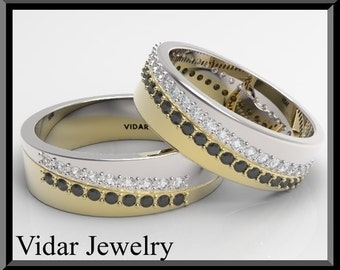 Weddung Band,Wedding Ring,His and Hers Matching  Black And White  Diamond Wedding Bands Set.Unique Band Set,Luxury,Yellow And White Gold