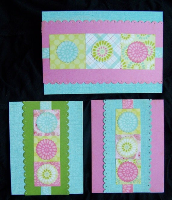 Set of Three Sweet Scallop Cards, Made by Talented Girl of 12 Years