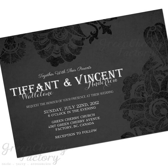 Items Similar To Vintage Black And White Gothic Wedding Invitation