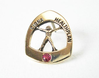 Vintage 14K Gold Cigna Healthplan Employee Pin With Simulated Ruby