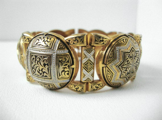Vintage Damascene Bracelet In Gold Silver And Black Enamel Made In Toledo, Spain