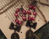 Vintage repurposed religious assemblage rosary bead earrings